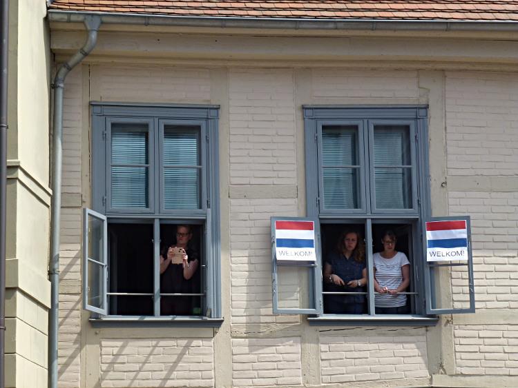 Besuch des niederländischen Königspaares in Schwerin - Willkommensgruß