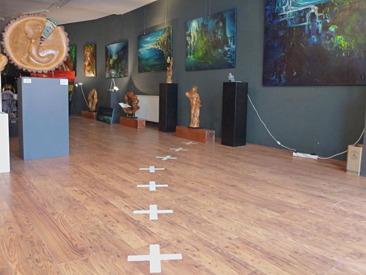 Grenzverlauf durch Galerie in Baarle