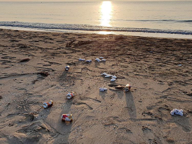 Bierdosen am Strand