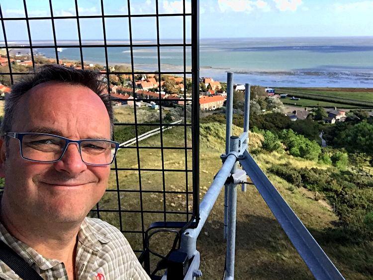 Oliver Hübner auf dem Leuchtturm Vlieland