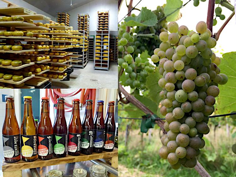Käse, Bier, Weintrauben aus Texel